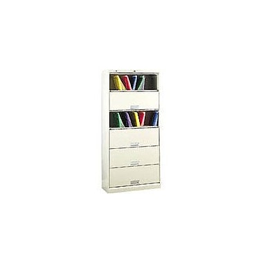 HON 6-Shelf 36in. Wide Legal Size Shelf File with Receding Doors, Putty