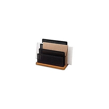 Rolodex® Distinctions™ Punched Black Metal and Cherry Wood Three-Compartment Sorter