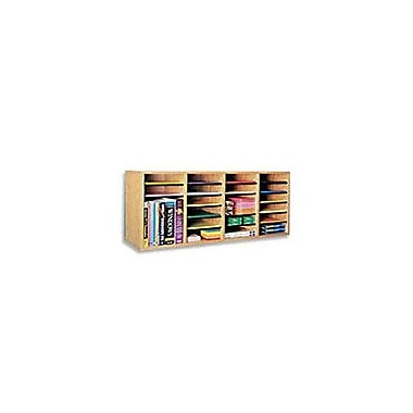 Safco® Adjustable Wood Literature Organizer, 36 Compartment, 39 1/4in. x 11 3/4in. X 24in., Oak