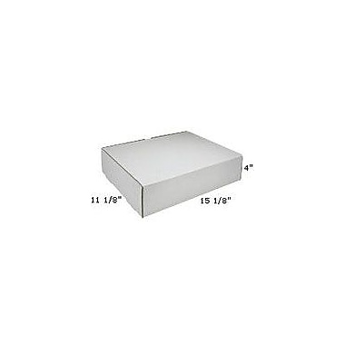 Staples White Corrugated Mailers, 15-1/8in. x 11-1/8in. x 4in., 50/Bundle