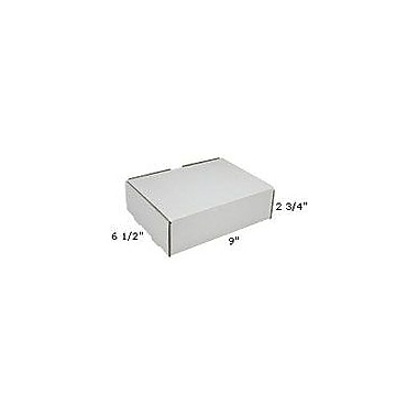 Staples White Corrugated Mailers, 9in. x 6-1/2in. x 2-3/4in., 50/Bundle