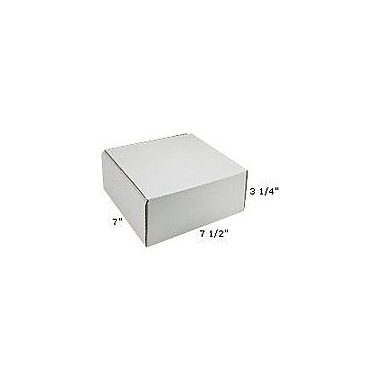 Staples White Corrugated Mailers, 7-1/2in. x 7in. x 3-1/4in.