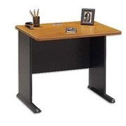 Bush Cubix 36 Desk, Natural Cherry/Slate Gray, Fully Assembled