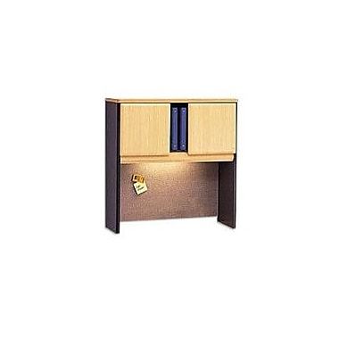 Bush Cubix 36in. Hutch, Euro Beech/Slate Gray, Fully assembled