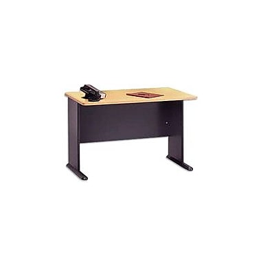 Bush Cubix 48in. Desk, Euro Beech/Slate Gray, Fully assembled