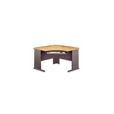 Bush Cubix 48in. Corner Desk, Euro Beech/Slate Gray, Fully assembled