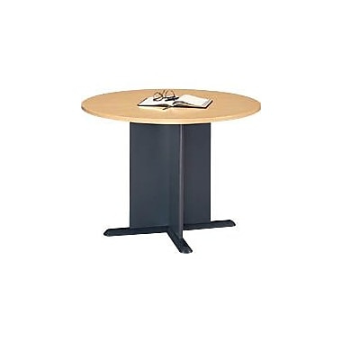 Bush Cubix 42in. Round Conference Table, Euro Beech/Slate Gray, Fully assembled