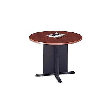 Bush Cubix 42in. Round Conference Table, Hansen Cherry/Graphite Gray, White Glove