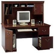 Bush Birmingham Desk with Hutch, Harvest Cherry