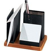 Rolodex® Distinctions™ Punched Black Metal and Cherry Wood Desk Organizer