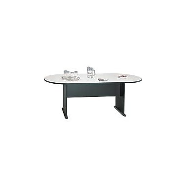 Bush Cubix Racetrack Conference Table, Slate Gray/White Spectrum, Fully assembled