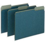 Pendaflex® Earthwise® 100% Recycled Colored File Folders, Letter, 3 Tab, Blue, 100/Box