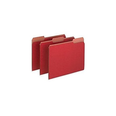 Pendaflex Earthwise® 100% Recycled Colored File Folders, Letter, 3 Tab, Red, 100/Box