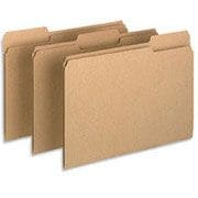 Pendaflex® Earthwise® 100% Recycled Colored File Folders, Letter, 3 Tab, Natural, 100/Box
