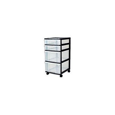 Staples® 4-Drawer Rolling Cart with Plastic Organizer Top