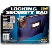 "Locking Security Bag with Label Holder, Navy Blue, 11""x 8 1/2"""