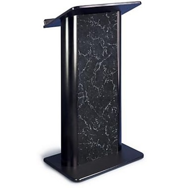 Amplivox Lectern, Flat C-Panel, Pyrenees Marble-Black Anodized Aluminum