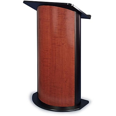 Amplivox Lectern, Curved C-Panel, Sipping Seattle Java - Black Anodized Aluminum