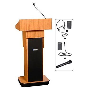 Amplivox Lectern, Adjustable column Wireless sound Lectern, Medium Oak