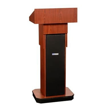 Amplivox Lectern, Non-Sound, Adjustable, Full-Height, Column, Mahogany