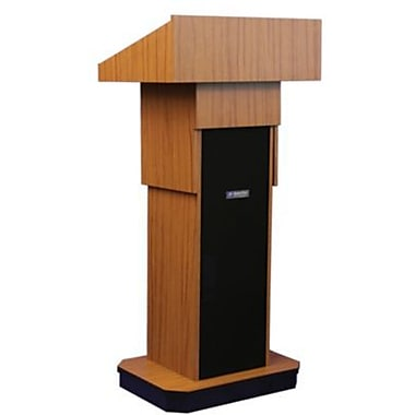 Amplivox Lectern, Non-Sound, Adjustable, Full-Height, Column, Medium Oak