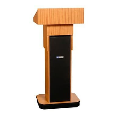 Amplivox Lectern, Non-Sound, Adjustable, Full-Height, Column, Light Oak