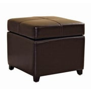 Baxton Studio Pandora Bi-cast Leather Storage Cube Ottoman, Dark Brown