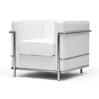 Baxton Studio Le Corbusier Leather Arm Petite Chair, White (610-Chair-white)