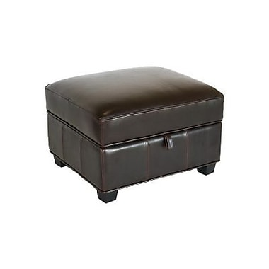 Baxton Studio Agustus Leather Storage Ottoman, Brown