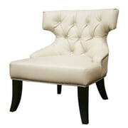 Baxton Studio Taft Leather Club Chair, Off-White