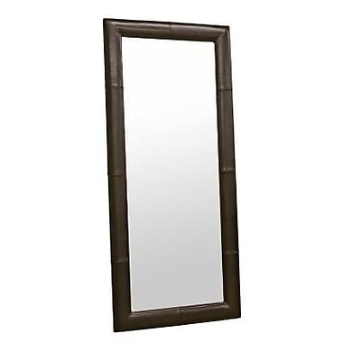 Baxton Studio Leather Frame Floor Mirror, Dark Brown