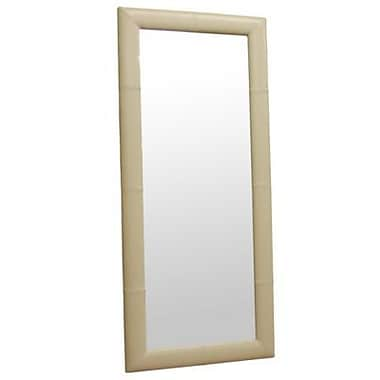 Baxton Studio Leather Frame Floor Mirror, Cream