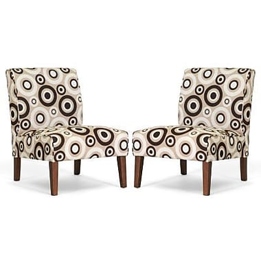 Baxton Studio Davis Fabric Accent Chair, Tan, 2/Set (Acct Lg-109/612)
