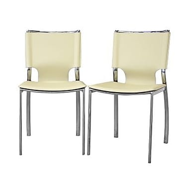Baxton Studio Montclare Leather Modern Dining Chair, Ivory