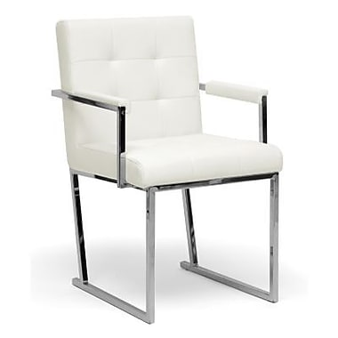 Baxton Studio Collins Mid-Century Leather Modern Accent Chair, Ivory
