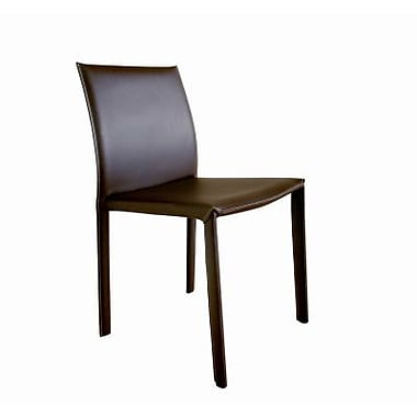 Baxton Studio Crawford Leather Dining Chair, Brown