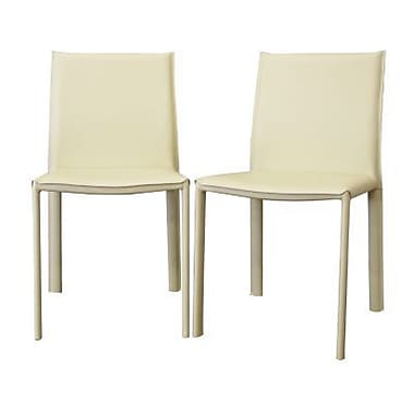 Baxton Studio Crawford Leather Modern Dining Chair, Ivory