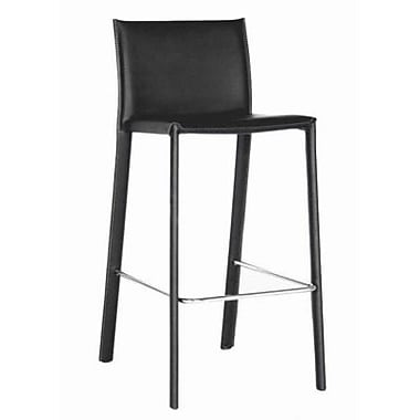 Baxton Studio Crawford Leather Low Back Counter Bar Stool, Black