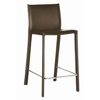 Baxton Studio Crawford Leather Low Back Counter Bar Stool, Brown