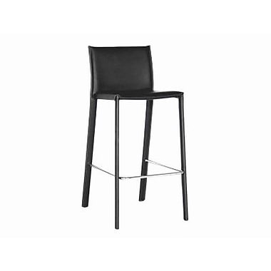 Baxton Studio Crawford Leather Low Back Bar Stool, Black
