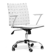 Baxton Studio Vittoria Leather Mid Back Modern Office Chair, White