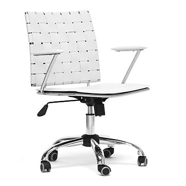 Baxton Studio Vittoria Mid-Back Leather Office Chair, Fixed Arms, White