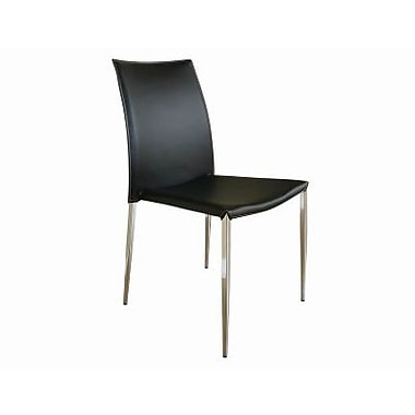 Baxton Studio New York Leather Dining Chair, Benton Black