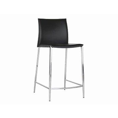 Baxton Studio Jenson Bonded Leather Counter Bar Stool, Black