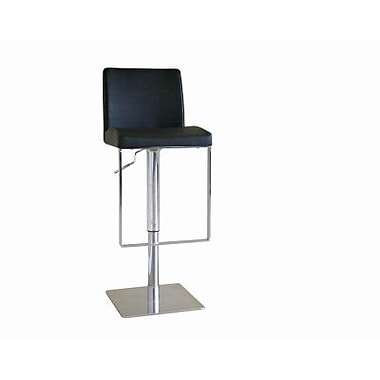 Baxton Studio Dallas Leather Adjustable Swivel Bar Stool, Black