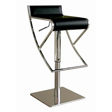 Baxton Studio Agusto Leather Adjustable Swivel Bar Stool, Black