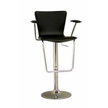 Baxton Studio Metro Leather Adjustable Bar Stool With Arm, Black