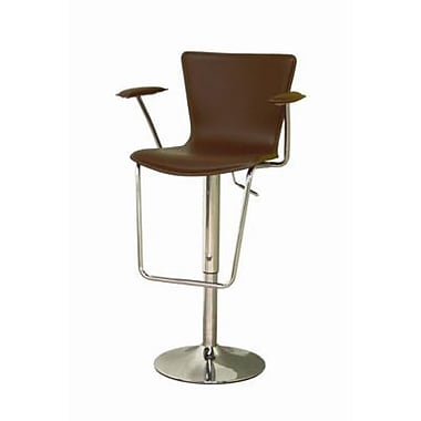 Baxton Studio Metro Leather Adjustable Bar Stool With Arm, Brown