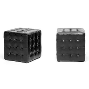 Baxton Studio Siskal Faux Leather Modern Cube Ottoman, Black