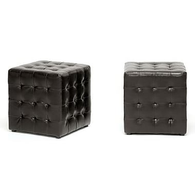 Baxton Studio Siskal Faux Leather Modern Cube Ottoman, Dark Brown